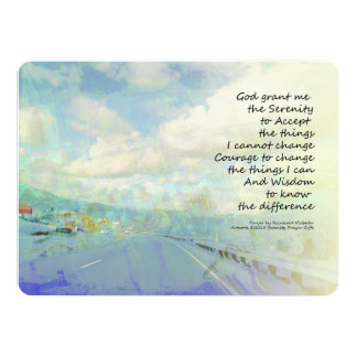 """Serenity Prayer Clouds and Highway 5.5"""" X 7.5"""" Invitation Card"""