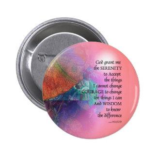 Serenity Prayer Collage Orange Pink Button