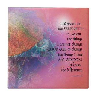 Serenity Prayer Collage Orange Pink Ceramic Tile