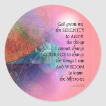 Serenity Prayer Collage Orange Pink Classic Round Sticker
