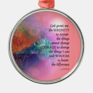 Serenity Prayer Collage Orange Pink Metal Ornament