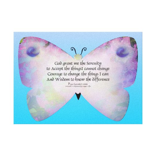 Serenity Prayer Colorful Butterfly on Blue Canvas Print