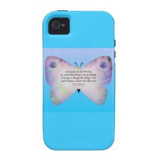 Serenity Prayer Colorful Butterfly on Blue Vibe iPhone 4 Cover