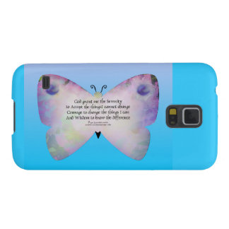 Serenity Prayer Colorful Butterfly on Blue Galaxy S5 Cover