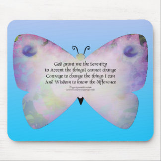 Serenity Prayer Colorful Butterfly on Blue Mouse Pad