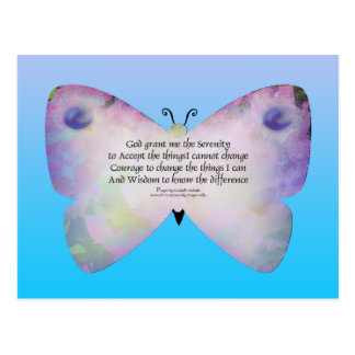 Serenity Prayer Colorful Butterfly on Blue Postcard