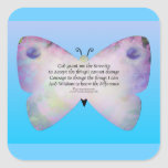 Serenity Prayer Colorful Butterfly on Blue Square Sticker