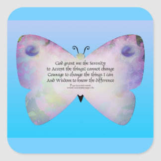 Serenity Prayer Colorful Butterfly on Blue Square Stickers