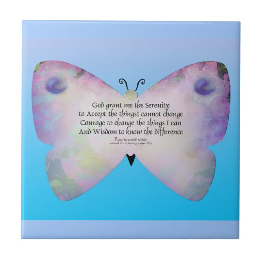 Serenity Prayer Colorful Butterfly on Blue Tile