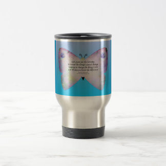 Serenity Prayer Colorful Butterfly on Blue Travel Mug