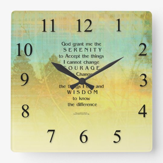 Serenity Prayer Colorful Trees Light Wall Clock