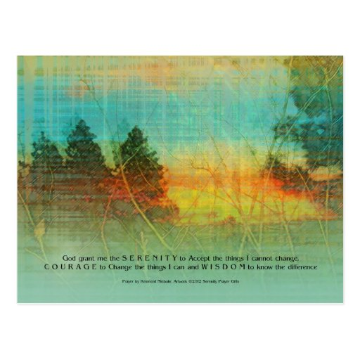 Serenity Prayer Colorful Trees Postcard