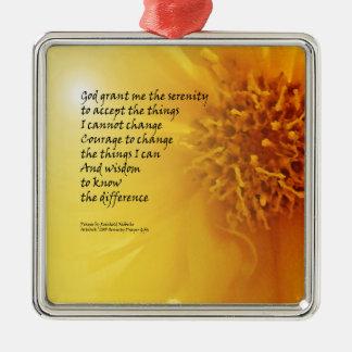 Serenity Prayer Coreopsis Metal Ornament