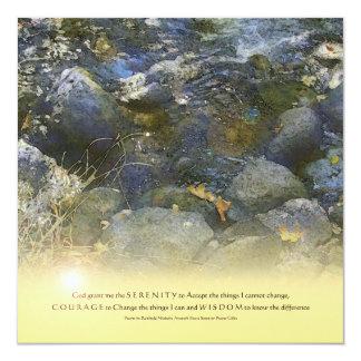 "Serenity Prayer Creek Rocks Invitation 5.25"" Square Invitation Card"
