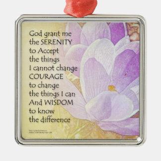 Serenity Prayer Crocus 2 Metal Ornament