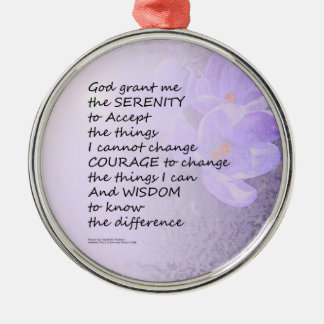 Serenity Prayer Crocus Metal Ornament