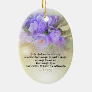 Serenity Prayer Crocus Yellow Glow Ceramic Ornament