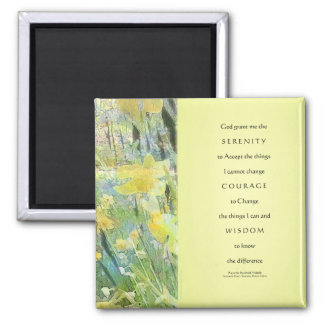 Serenity Prayer Daffodils Panels 2 Inch Square Magnet