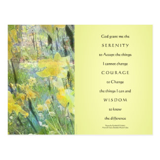 Serenity Prayer Daffodils Panels Postcard