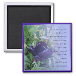 Serenity Prayer Deep Blue Tulip Magnet