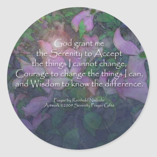 Serenity Prayer Dogwood Classic Round Sticker