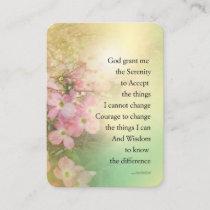 Serenity Prayer Dogwood Glow Business Card