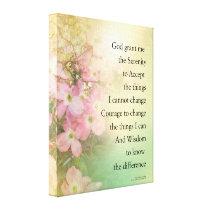 Serenity Prayer Dogwood Glow Canvas Print