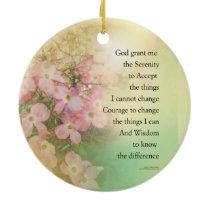 Serenity Prayer Dogwood Glow Ceramic Ornament