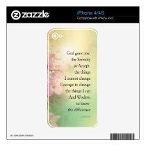 Serenity Prayer Dogwood Glow Decal For iPhone 4