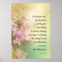 Serenity Prayer Dogwood Glow Poster