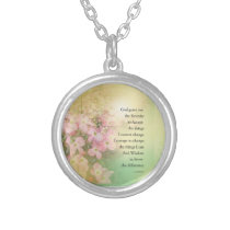 Serenity Prayer Dogwood Glow Silver Plated Necklace