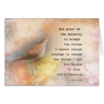 Serenity Prayer Dove and Flowers