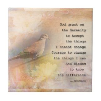 Serenity Prayer Dove and Flowers Ceramic Tile