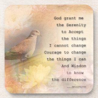 Serenity Prayer Dove and Flowers Coaster