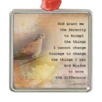 Serenity Prayer Dove and Flowers Metal Ornament
