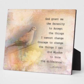 Serenity Prayer Dove and Flowers Plaque