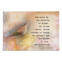 Serenity Prayer Dove and Flowers Poster