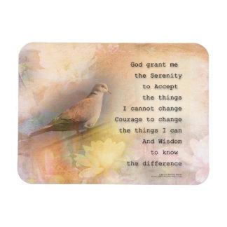 Serenity Prayer Dove and Flowers Rectangular Photo Magnet