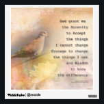 """Serenity Prayer Dove and Flowers Wall Decal<br><div class=""""desc"""">The Serenity Prayer by Reinhold Niebuhr over a gentle collage featuring flowers,  a dove,  and layered glimpses of water,  sky,  and trees. Peaceful,  thoughtful,  nice gifts!</div>"""