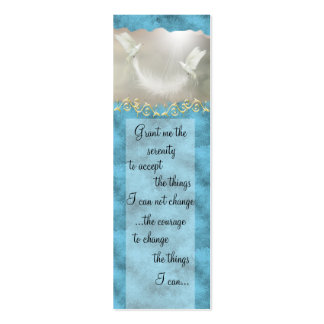 Serenity Prayer Doves Buiness Card ~ turquoise Double-Sided Mini Business Cards (Pack Of 20)