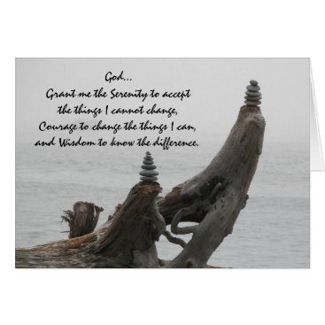 Serenity Prayer Driftwood and Rock Cairns Card