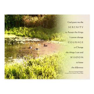 Serenity Prayer Duck Pond Postcard