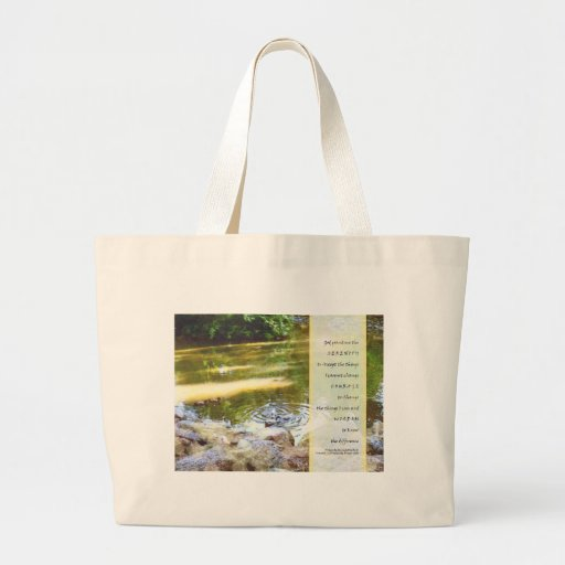 Serenity Prayer Duck Pond Reflections Large Tote Bag