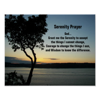 Serenity Prayer Evening Sunset Poster