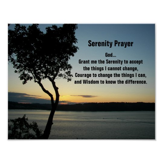 Serenity Prayer Evening Sunset Poster