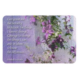 Serenity Prayer Fence Flowers Rectangular Photo Magnet