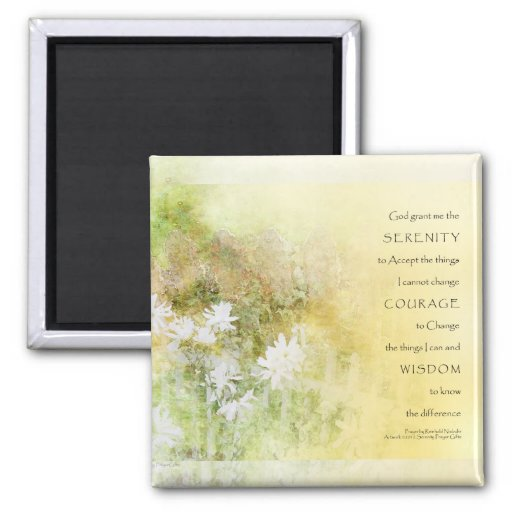 Serenity Prayer Fences Flowers 2 Inch Square Magnet