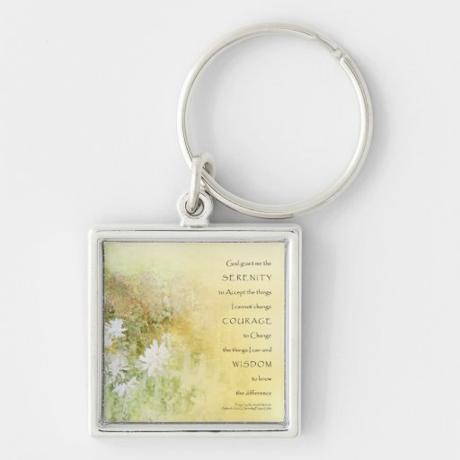 Serenity Prayer Fences Flowers Silver-Colored Square Keychain