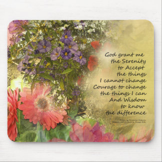 Serenity Prayer Floral Collage Mouse Pad