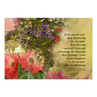 Serenity Prayer Floral Collage Poster
